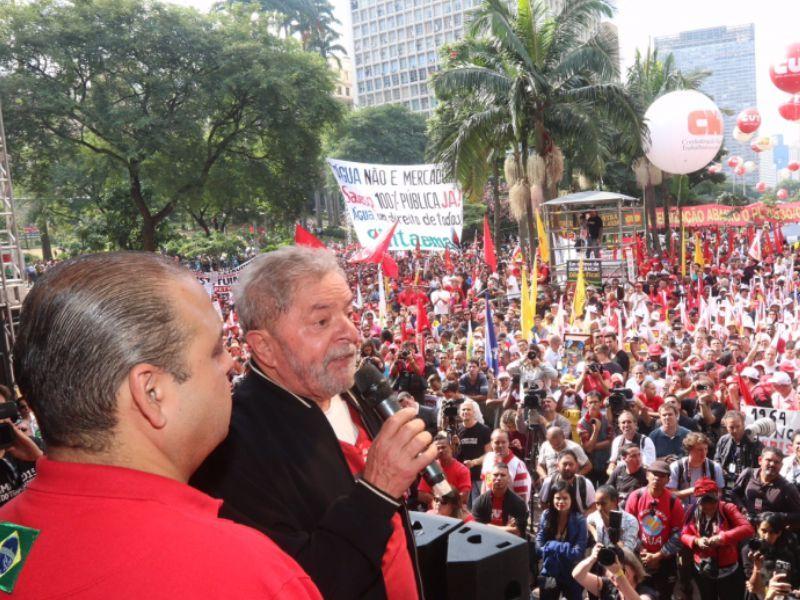 Lula e Vagner Freitas no ato público de 1º de maior em São Paulo